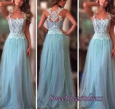 Long prom dress, ball gown, cute blue lace tulle evening dress for prom 2017
