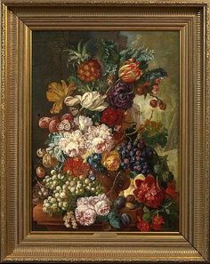 "Manner of Jan Van Os (Dutch, ""Still - by New Orleans Auction Galleries Framed Wall Art, Framed Art Prints, Wall Canvas, Wall Pictures, Manners, Door Wreaths, View Image, Picture Wall, Still Life"