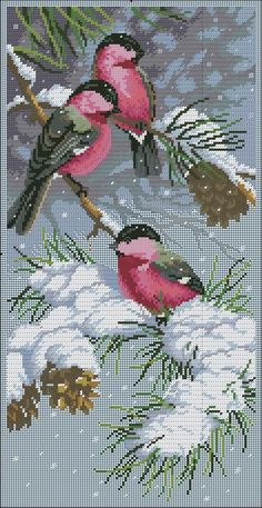 Birds on Snow Branches Cross Stitch Needles, Cross Stitch Bird, Cross Stitch Animals, Cross Stitch Flowers, Cross Stitch Charts, Cross Stitch Designs, Cross Stitching, Cross Stitch Embroidery, Cross Stitch Patterns