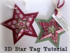 paper star ornament tutorial, stampin up, star framelits, star tag #2014HolidayCatalog