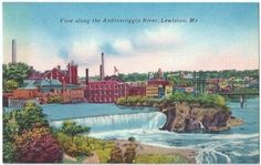 Lewiston Me View along Androscoggin River Vintage Postcard Maine Linen