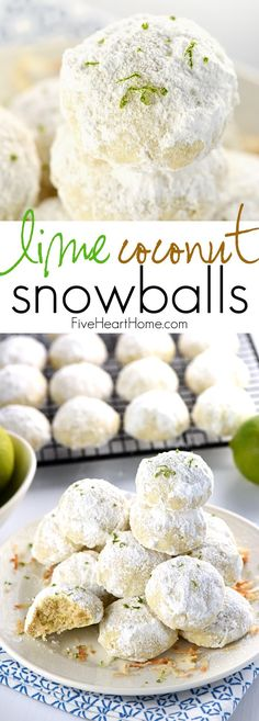 Lime Coconut Snowball Cookies + Over 100 More Christmas Cookies! @FoodBlogs