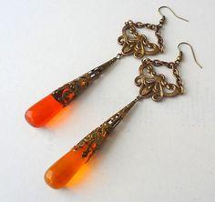 beautiful art nouveau czech glass earrings