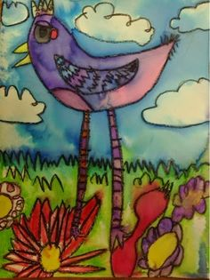 Art With Mr. E: Chirpin': 1st Grade Birds - want to try this technique of drawing with black crayon, tracing/coloring with marker and then spraying the paper with water so that the colors move and spread - could even do a different subject - would be good with Kinder too