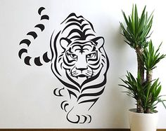 Tiger Wall Decal BIG CAT Wall Art Sticker Decor Zoo Animal Vinyl Mural