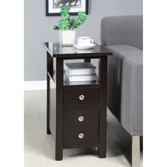 This functional side table has one pull out drawers for storage and one cabinet drawer for storage. This living space accent piece is ideal for use as a table to store your belongings.