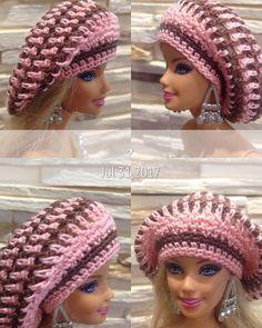 """Polubienia: 6, komentarze: 1 – Kristi (@craftcloudy) na Instagramie: """"Crochet pink slouchy hat with brown stripes for Barbie doll. #barbie #barbieclothes #barbiehat…"""""""