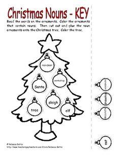 CHRISTMAS NOUNS WORKSHEET - TeachersPayTeachers.com