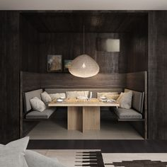 INTERIORS : Dining Nook at Piermont Retreat on the beautiful Freycinet Coast in Tasmania. Dining Booth, Dining Table, Round Dining, Hecker Guthrie, My Ideal Home, Waterfront Property, Interior Design Studio, Beautiful Interiors, Modern Decor