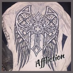 Men's long sleeved off white Affliction shirt Men's Affliction long sleeved off white and grey shirt. Three buttons at neck with awesome graphic on back. In excellent condition, no stains or marks. Size large. Affliction Tops Tees - Long Sleeve
