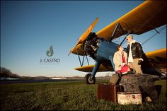 Aviation Themed Engagement Session WWII 1940's Stearman