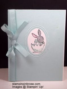 Stampin' Up!  Easter card made with Everybunny stamp set and designed by Demo Pamela Sadler. This little bunny is popping out of a n egg to wish someone Haappy Easter.  See more cards at stampinkrose.com and etsycardstrulyheart