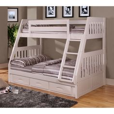 With a twin bed on top, a full bed on the bottom, and underbed storage drawers, this bunk bed works to save you space. The built-in ladder makes it easy to get up and down, and the side rails on the top provide extra safety.