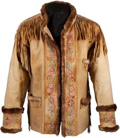A CREE SILK EMBROIDERED AND FRINGED HIDE JACKET. c. 1890... | Lot #50121 | Heritage Auctions
