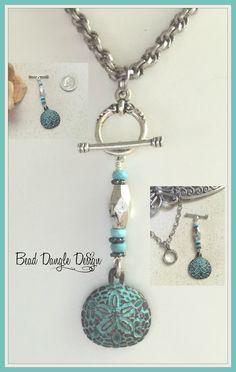 Patina Starfish Beaded Pendant Necklace #255