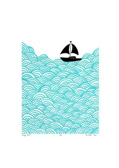 """Bigger Boat"" print in Aqua - Framing Available"