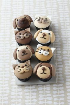 Cute puppy dog and kitty cupcakes - Cake Decorating Cupcake Ideen Cupcakes Design, Cupcakes Chat, Cookies Cupcake, Dog Cupcakes, Animal Cupcakes, Coconut Cupcakes, Coconut Buttercream, Blue Cupcakes, Cheesecake Cupcakes
