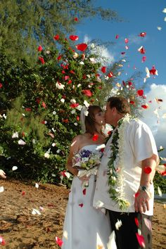 We call this a flower shower! This is at Princeville Beach on Hanalei Bay Wedding Minister, Hanalei Bay, Kauai Wedding, Flower Shower, Wedding Officiant, Wedding Ceremony, Dream Wedding, Memories, Beach