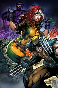 Wolverine and Rogue vs. Sentinel by Marcio Abreu, inks by John Castelhano, colours by Teo Gonzalez *