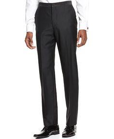 Ryan Seacrest Distinction Black Tuxedo Slim-Fit Pants