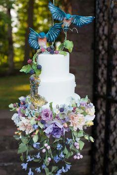 Autumn Garden Elopement | The Perfect Palette Crazy Cakes, Fancy Cakes, Bird Cakes, Cupcake Cakes, Cupcakes, Shoe Cakes, Cake Wrecks, Unique Cakes, Elegant Cakes