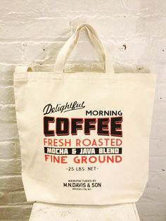 Screen printed canvas tote bag from MN Davis and Son
