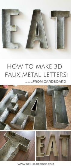 Industrial style faux metal letters - learn how to make these DIY galvanized metal letters using cardboard and paint. The easiest tutorial out there!