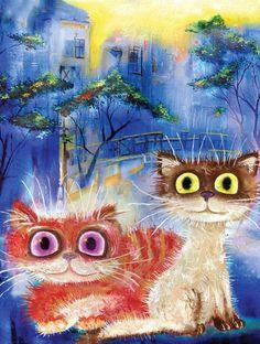 "Cat painting ""Greeting the morning"". Artist Boris Kasynov | ""Встречающие утро"". Художник Борик Касьянов"