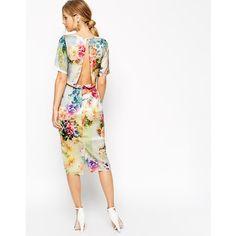 #Asos - Raffiniertes #Cocktailkleid mit offenem #Rücken und #Blumenprint