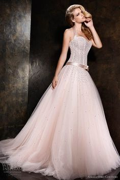 alessandro couture 2013 pink wedding dress halter neck - dunno if it's for me, but would be soo good in Vegas