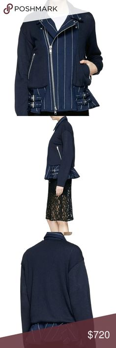 $920 SACAI LUCK Navy Blue Peplum jacket! Brand new with tags! Tag was ripped and taped so it would stay on. Purchased from Barneys New York! Sacai Jackets & Coats Blazers