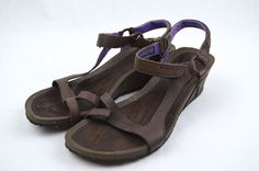 Teva Womens 9 Cabrillo Wedge Sandals - Brown Leather - Strappy Strap  | eBay