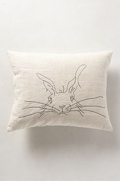 "Rabbit Pillow - anthropologie.com •Back zip •Linen; synthetic down fill •Machine wash •14"" x 18"""