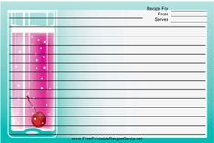 This Pink Cocktail Turquoise Recipe Card features a tall pink cocktail on a turquoise-colored background. Free to download and print