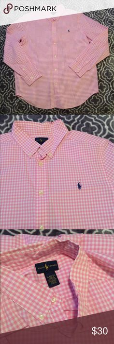 ✨ Polo Ralph Lauren Plaid Top ✨ Men's polo Ralph Lauren pink plaid long sleeve button up top with blue pony. Never worn, no flaws. Size is 18/20 in boys but is equivalent to a men's small/medium. Only difference is the sleeves are a little bit shorter. Can provide measurements upon request. Check my closet for other deals! Polo by Ralph Lauren Shirts Dress Shirts