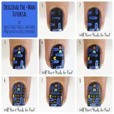 Original Pac-Man nail art tutorial
