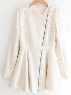 beige coat with long zipper