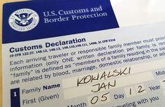 Jak wypełnić Deklaracja Celną w samolocie do USA. Jak wypełnić deklarację w domu. Skąd ściągnąć druk formularza Celnego do USA. Podstawowe informacje dla osób podróżujących do USA. - Wzór Deklaracji Celnej 2018