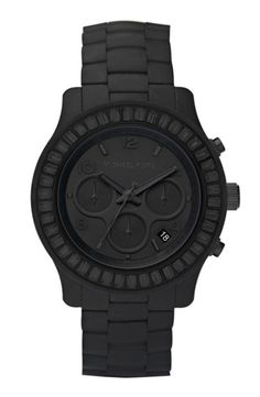 Michale Kors all black watch #mens_fashion #watch #jewelry | More outfits like this on the Stylekick app! Download at http://app.stylekick.com