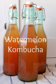 watermelon kombucha: 14 cups water 1 cup coconut sugar 2 tbsp rooibos tea 2 cups starter tea 1 scoby fresh watermelon juice (I used 1 cups) Kombucha Flavors, Kombucha Scoby, How To Brew Kombucha, Kombucha Recipe, Probiotic Drinks, Making Kombucha, Kombucha Brewing, Homebrewing, Kefir