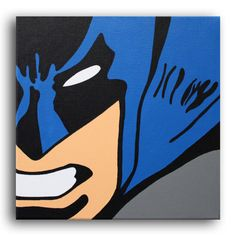 Batman Close Up Painting  12x12 by ArtofaSilentBee on Etsy, $37.00