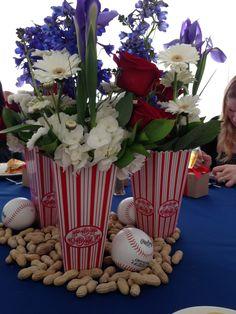 baseball shower flowers-for my baseball lovin' friend @Crystal Morgan