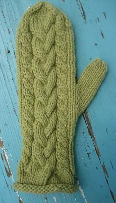 Lofty Cable Mittens - knit in Lofty Wool - Crystal Palace Yarns - free mittens knitting pattern