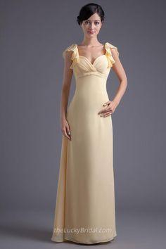 Empire Long Yellow Chiffon Elegant Sheath Low Back Evening Dress