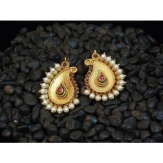Shop Traditional And Classy Golden And Colored Stone Earring - Online Shopping For Earrings By Elegant Elements by Elegant Elements online. Largest collection of Latest Earrings online. India Jewelry, Pearl Jewelry, Antique Jewelry, Jewelery, Gold Jewelry, Traditional Earrings, Gold Earrings Designs, Indian Earrings, Jewelry Patterns
