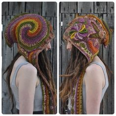 Autumn Breeze Freeform Crochet Hooded Scarf // Ooak Fiber Art Spirit Hood