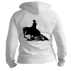 Zip up fitted womens jacket-hoodie... reining horse on the front and back (:❤
