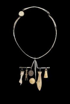 Necklace   Ramona Solberg. 'Shaman's'  Silver, Alaskan ivory, found objects
