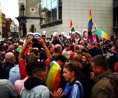 Hundreds of people have turned up at City Hall in Dublin this evening to show solidarity with the Orlando community #LoveIsLove