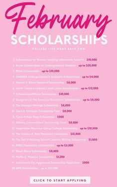 Valuable college scholarships with deadlines in February. Opportunities for high school, undergraduate and graduate students. Apply now if you need money to pay for college. Graduate Scholarships, Scholarships For College Students, School Scholarship, Grants For College, College Fund, Saving For College, College Essay, Graduate School, College Tips